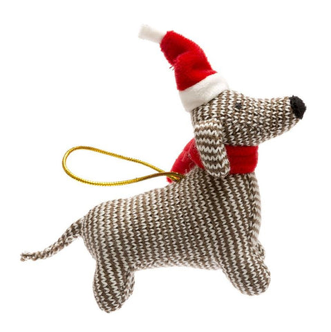 Knitted Sausage Dog Christmas Decoration