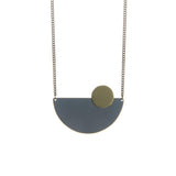 Coloured Brass Semi Circle Pendant - Various Colours