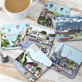 Set of 6 Bristol Coasters by Emmeline Simpson