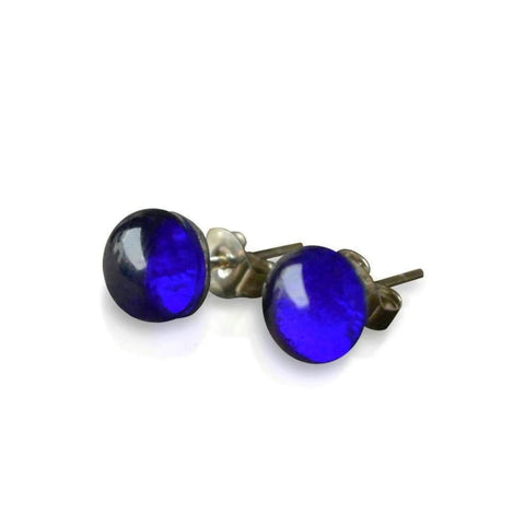 Bristol Blue Glass Small Stud Earrings