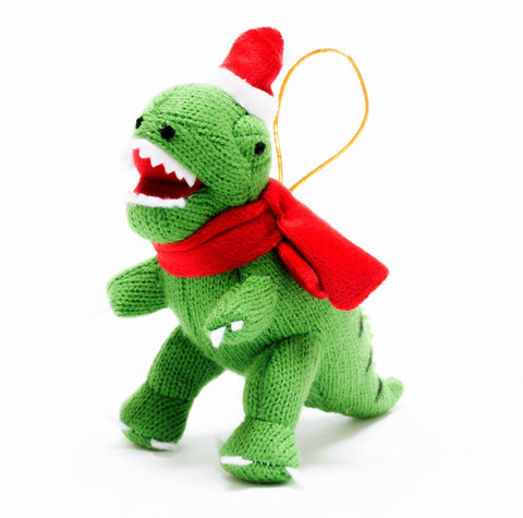 Knitted T Rex Christmas Decoration
