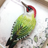 Green Woodpecker Brooch
