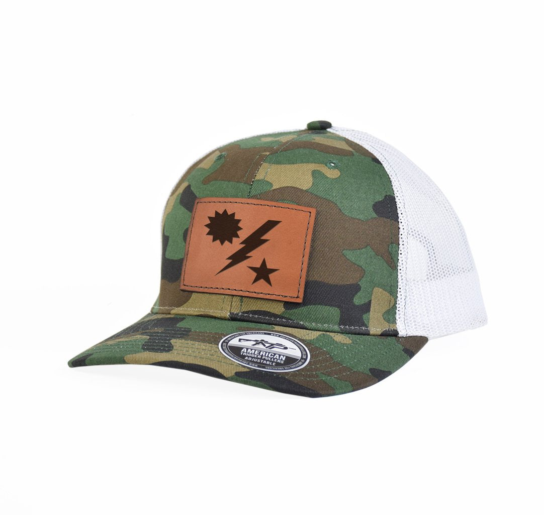 Star Sun Bolt Leather Snap-Back