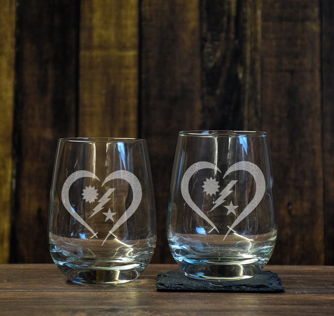 DUI Heart Stemless Wine Glass Set