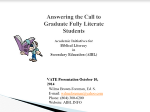 VATE 2014 - Answering the Call (Academic Initiatives for Biblical Literacy)