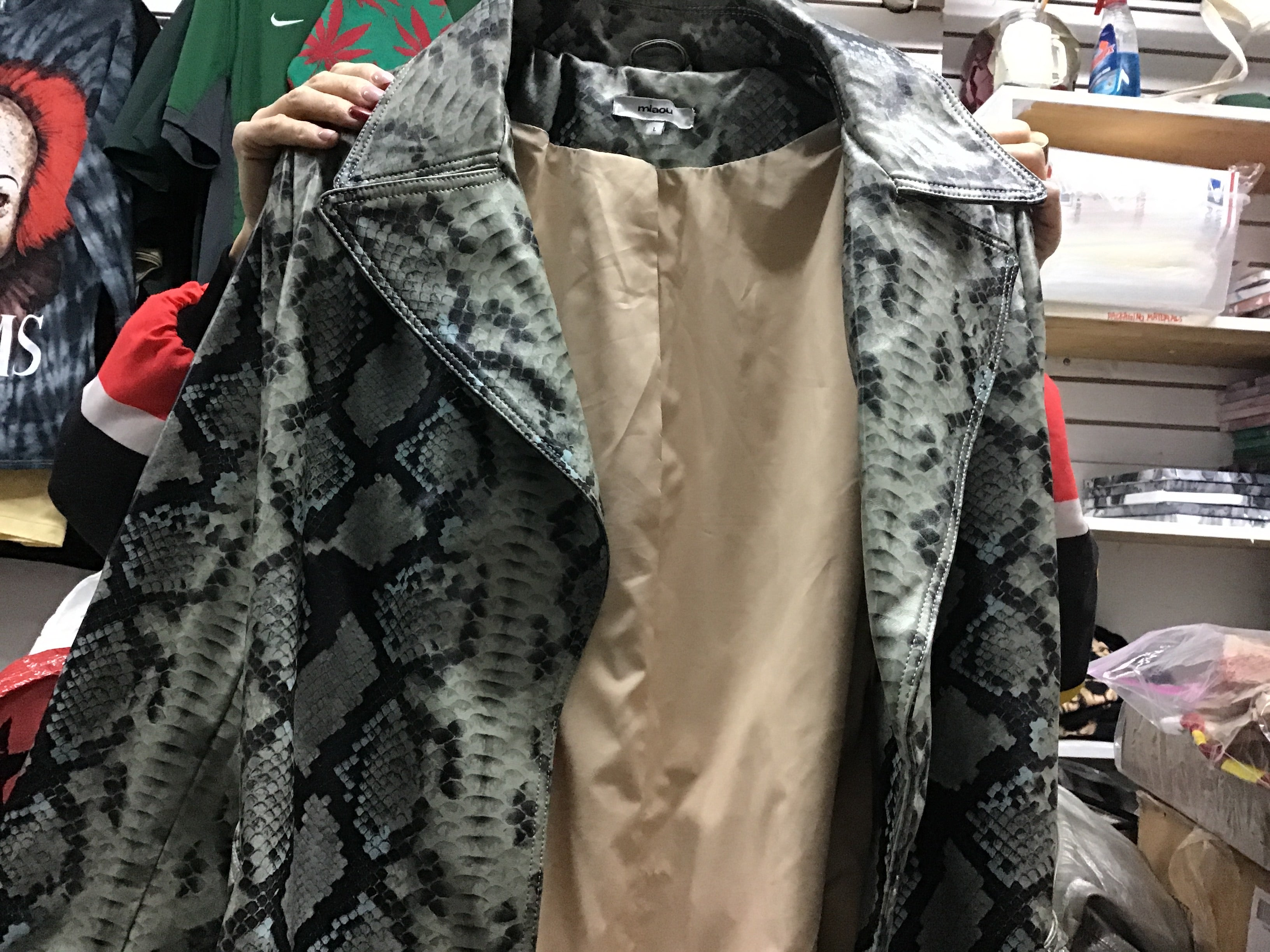 Snake print trench