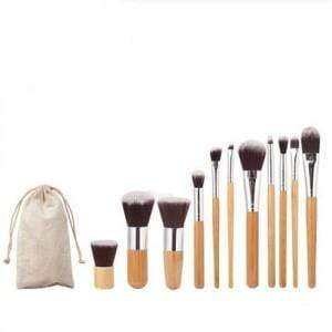 11 Piece Bamboo Makeup Brush Set with Travel Bag - Emma's Boutique