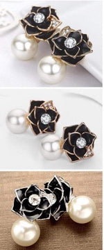 Load image into Gallery viewer, Black Rose Pearl Fashion Women Earrings - Emma's Boutique