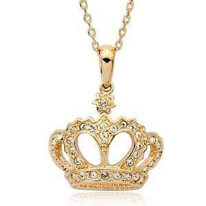Imperial Crown Pendant Necklace With Austrian Crystals - Emma's Boutique