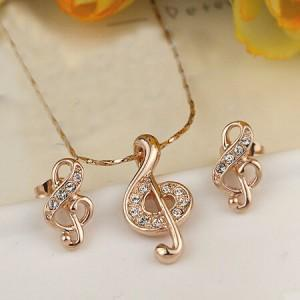 Musical Notes Necklace And Earrings Set - Emma's Boutique