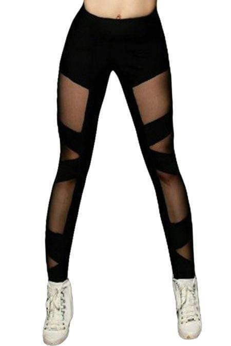 Black Sexy Cross Mesh Sports Leggings - Emma's Boutique