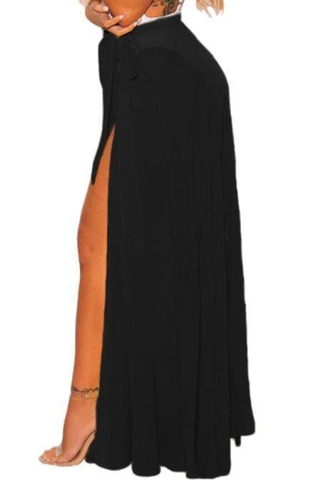 Black Sheer Wrap Maxi Beach Skirt - Emma's Boutique