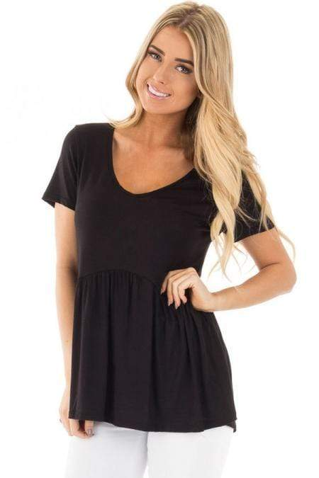 Black Babydoll Style T-shirt - Emma's Boutique