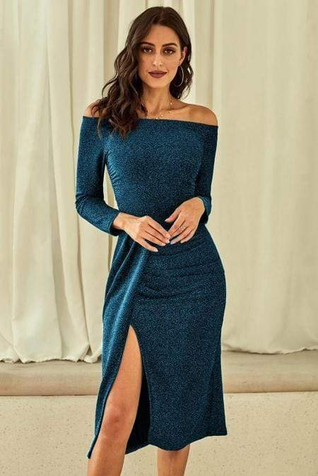 Blue Metallic Glitter Off Shoulder Formal Dress - Emma's Boutique