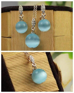 Blue Opal Necklace And Earring Set - Emma's Boutique
