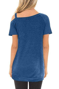 Blue Sling Short Sleeve Casual Buttoned Top - Emma's Boutique