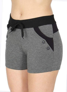 Button Accent Fleece Shorts- Charcoal Grey - Emma's Boutique