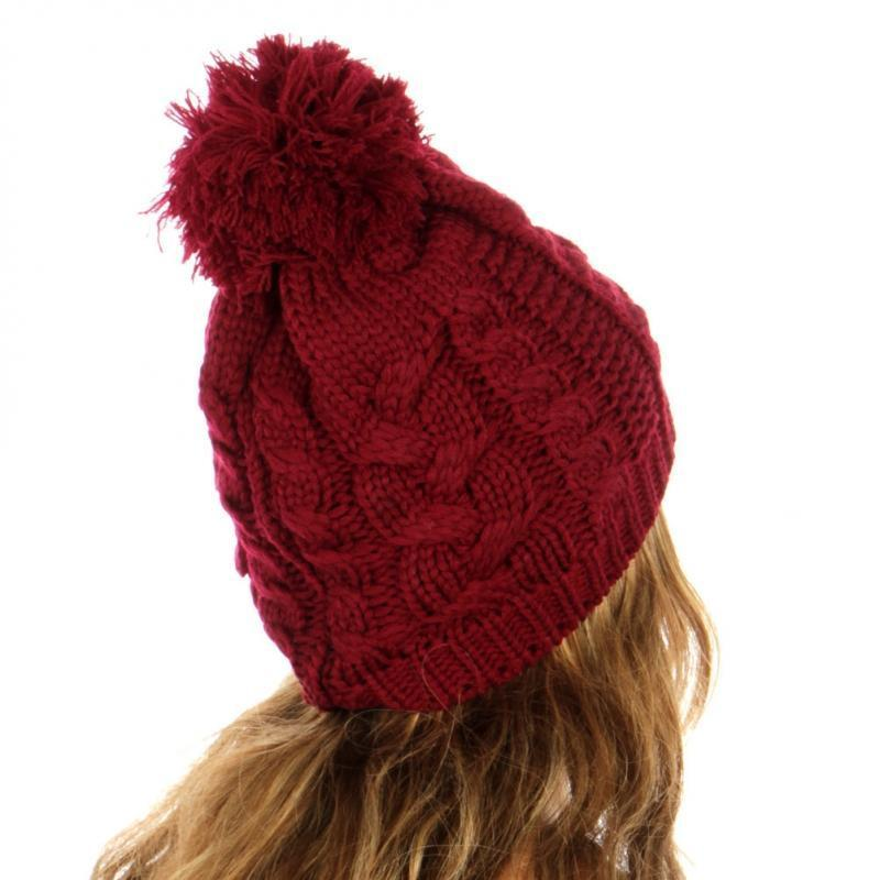 Cable Knit Hat- Red - Emma's Boutique
