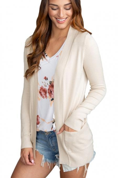 Creamy Knit Long Sleeve Cardigan Top with Pockets - Emma's Boutique