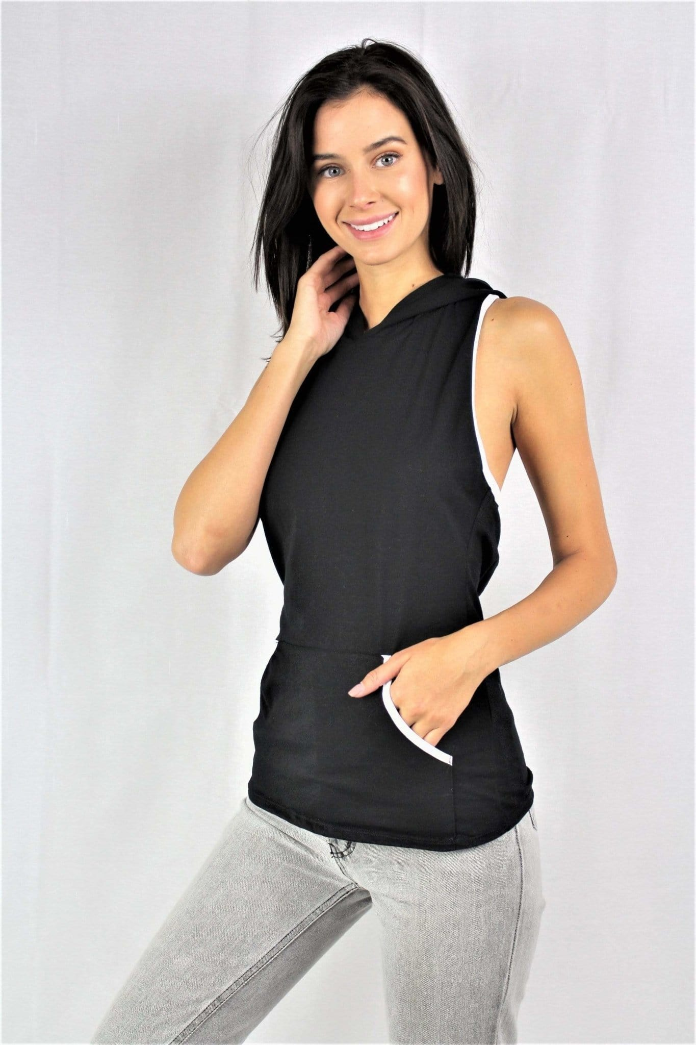 Crisscross-Back Sleeveless Hoodie - Emma's Boutique