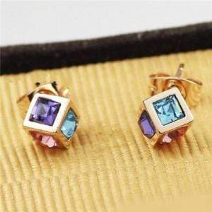 Crystal Inlaid Cube Design Earrings - Emma's Boutique