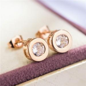 Cubic Zirconia Round Design Earrings - Emma's Boutique