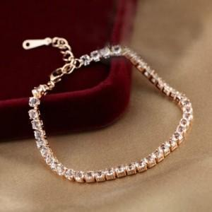 CUBIC ZIRCONIA INLAID SIMPLISTIC THIN STYLE 18K ROSE GOLD PLATED BRACELET - Emma's Boutique