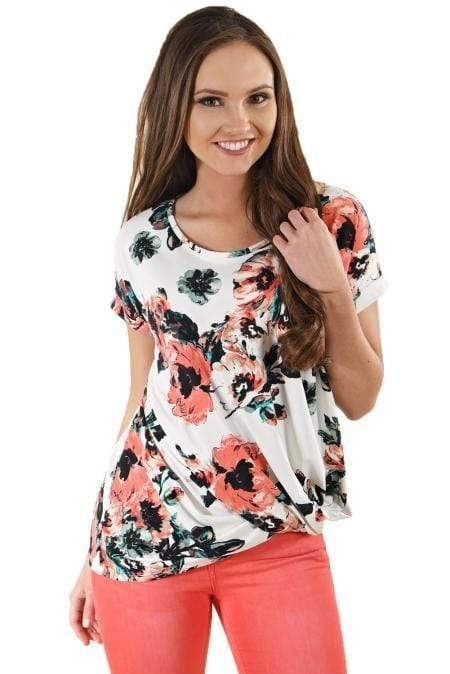 Dark Floral Short Sleeve Knot Top - Emma's Boutique