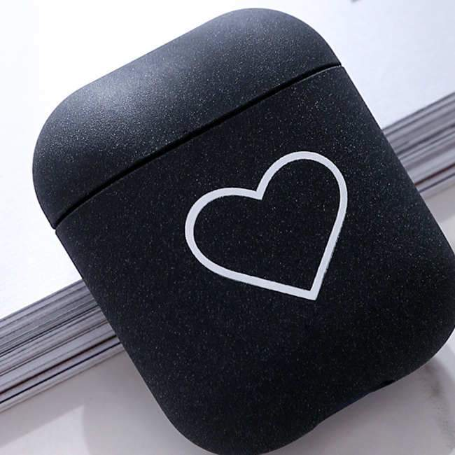 Fashion Love Heart Pattern AirPods Case- Black - Emma's Boutique