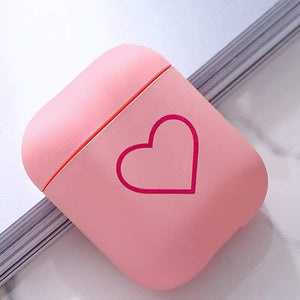 Fashion Love Heart Pattern AirPods Case- Pink - Emma's Boutique