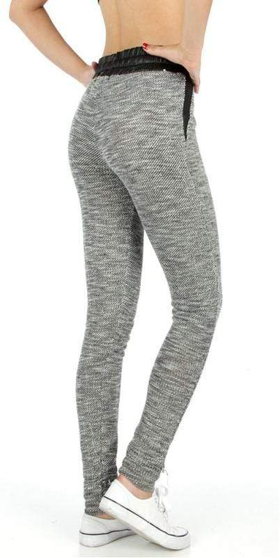 Faux leather trim marled jogger pants - Emma's Boutique