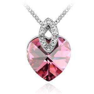 GRACEFUL AUSTRIAN CRYSTAL HEART PENDANT FASHION NECKLACE - Emma's Boutique