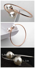 Load image into Gallery viewer, GRACEFUL TWIN PEARLS FASHION OPEN-END DESIGN ROSE GOLD BANGLE - Emma's Boutique
