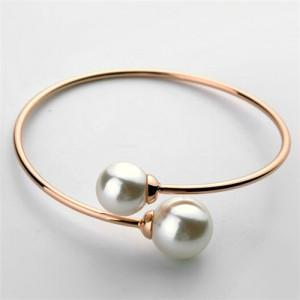 GRACEFUL TWIN PEARLS FASHION OPEN-END DESIGN ROSE GOLD BANGLE - Emma's Boutique