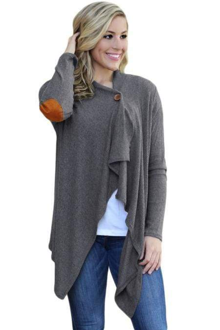 Gray Elbow Patch Women Cardigan - Emma's Boutique