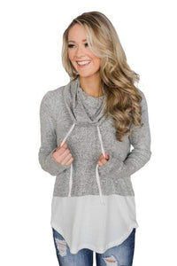 Grey White Colorblock Drawstring Cowl Neck Sweatshirt - Emma's Boutique