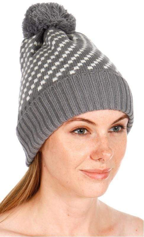 Hand knit dotted pattern pom beanie - Emma's Boutique