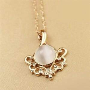 HOLLOW FLOWER WITH OPAL INLAID ROSE GOLD NECKLACE - Emma's Boutique