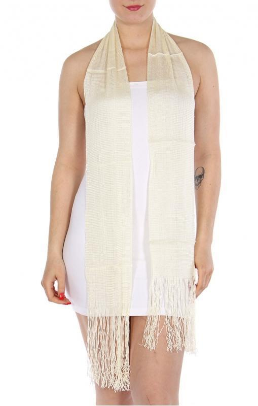 Ivory solid long tassel scarf - Emma's Boutique