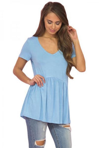 Light Blue Sweetheart Neckline Babydoll Style T-shirt - Emma's Boutique