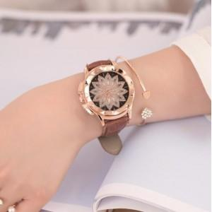 LOTUS FLOWER ENGRAVING HIGH FASHION LEATHER WRIST WATCH - Emma's Boutique