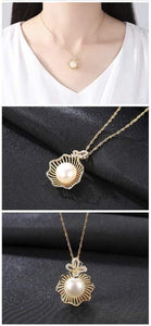 NATURAL PEARL INLAID SEASHELL DESIGN PENDANT 18K GOLD PLATED 925 STERLING SILVER NECKLACE - Emma's Boutique