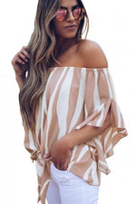 Load image into Gallery viewer, Off The Shoulder Vertical Stripes Blouse In Pink - Emma's Boutique