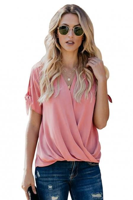 Pink Charismatic Drape Blouse - Emma's Boutique
