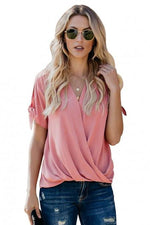Load image into Gallery viewer, Pink Charismatic Drape Blouse - Emma's Boutique