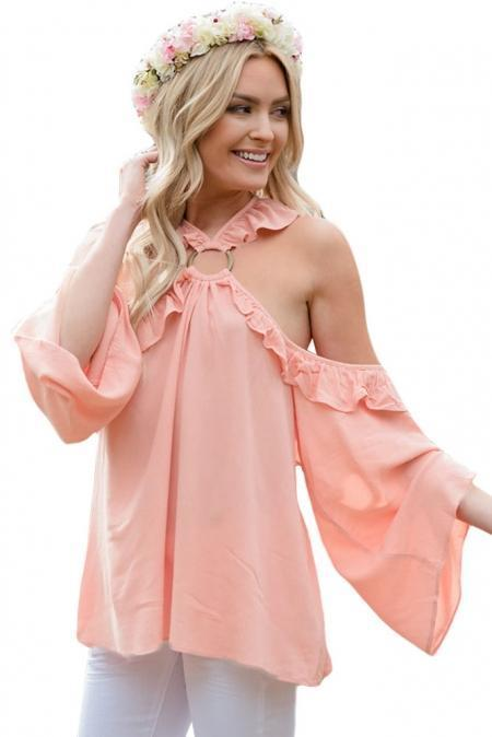 Pink O-ring Connected Ruffle Detail Off Shoulder Top - Emma's Boutique