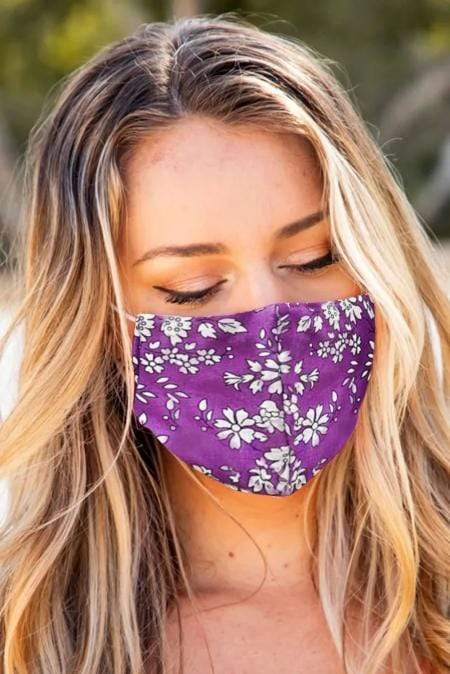 Purple Floral Print Washable Outdoor Protection Face Mask - Emma's Boutique