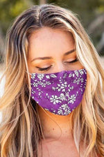 Load image into Gallery viewer, Purple Floral Print Washable Outdoor Protection Face Mask - Emma's Boutique