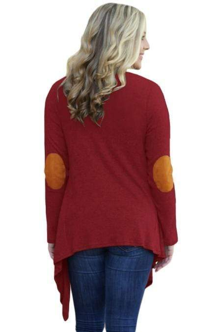Purplish Red Elbow Patch Women Cardigan - Emma's Boutique