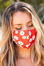 Load image into Gallery viewer, Red Floral Print Face Mask - Emma's Boutique